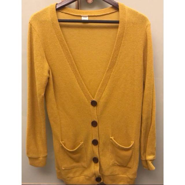 芥黃色針織罩衫/薄外套