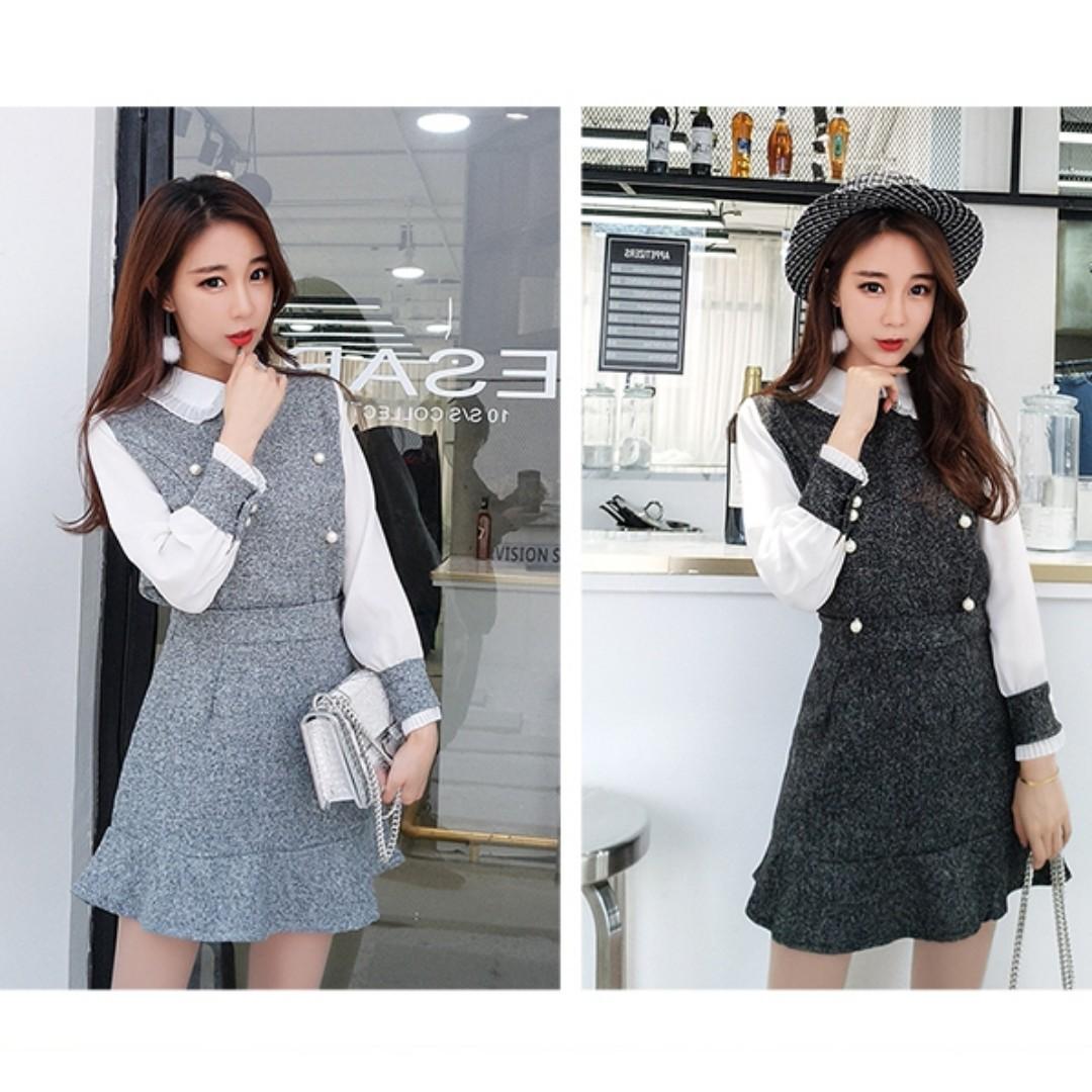 小香風時尚兩件套裝韓版甜美拼接娃娃領上衣+高腰魚尾裙