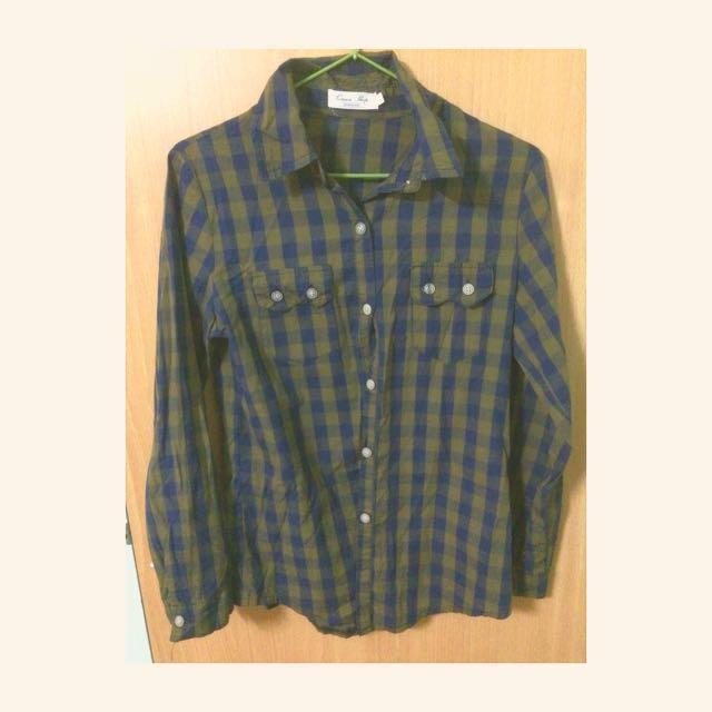 日系綠格襯衫