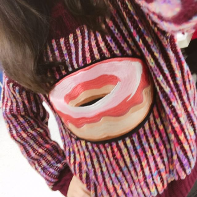 正韓 甜甜圈刺繡針織毛衣