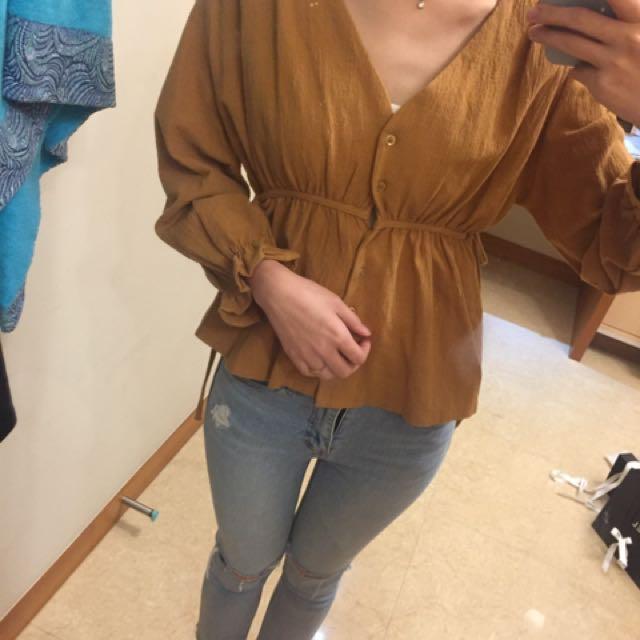 正韓 超可愛橘色 棉麻上衣