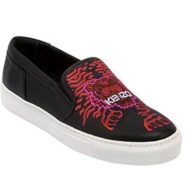 保證真品 可附購買證明 KENZO 義大利真皮小牛皮老虎刺繡黑色便鞋 休閒鞋 正品