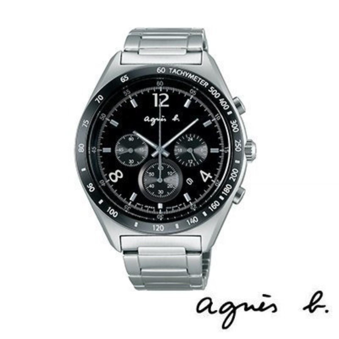 真品保證 全新agnes b. 銀色黑面三眼計時日期腕錶 手錶 /42mm BW8001P1 限量1隻