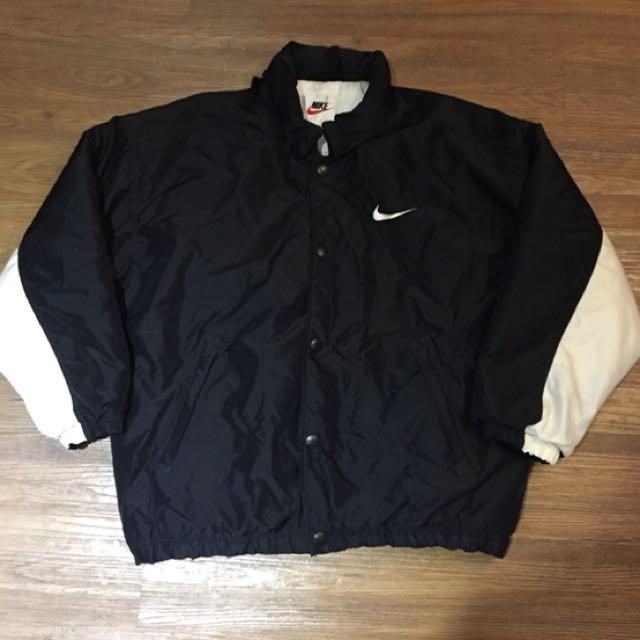古著 Vintage Nike 大字Logo 黑白 拼色 超厚 超保暖 外套