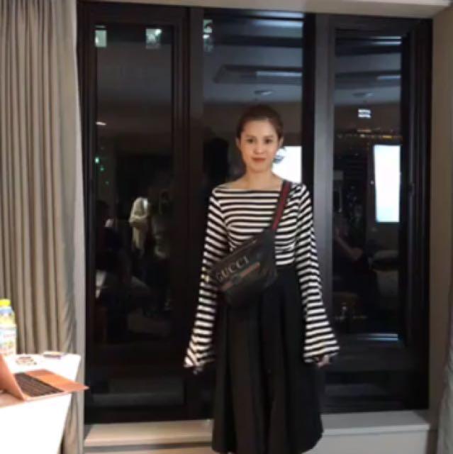 Amissa 全新轉賣 超美條紋上衣 #酒紅色