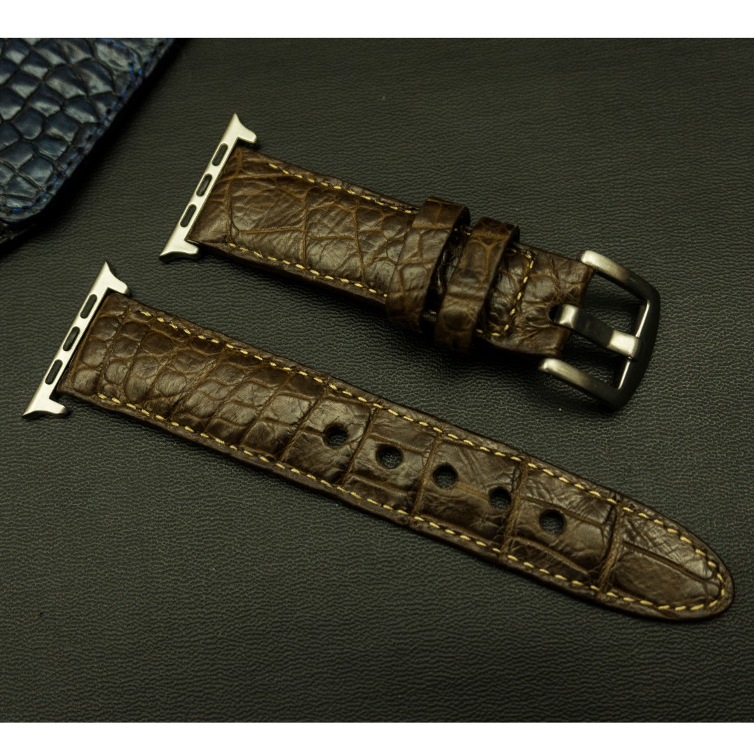689d80400 Apple watch band / strap Crocodile leather, Apple watch band / strap ...