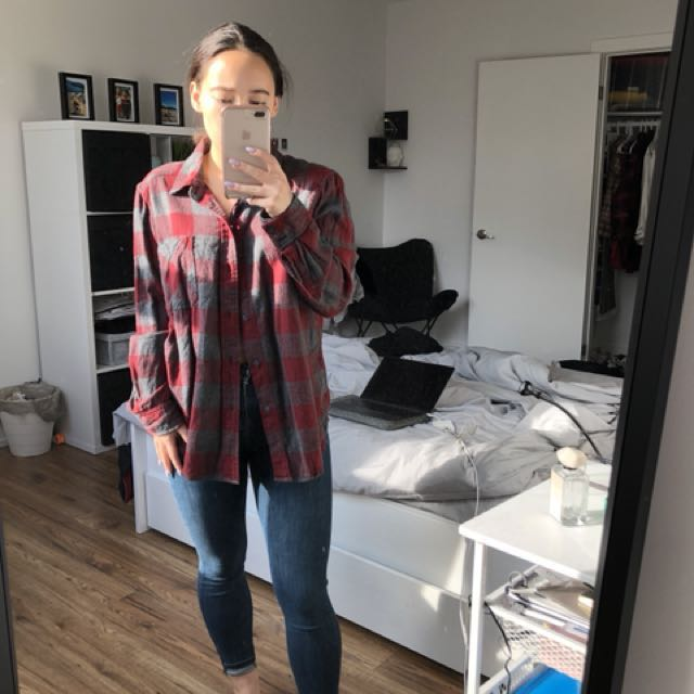 Aritzia-TNA Red and Grey Flannel