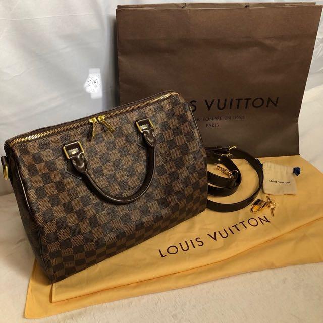Authentic Louis Vuitton Speedy bandouliere damier ebene 30 d50c8673ffff