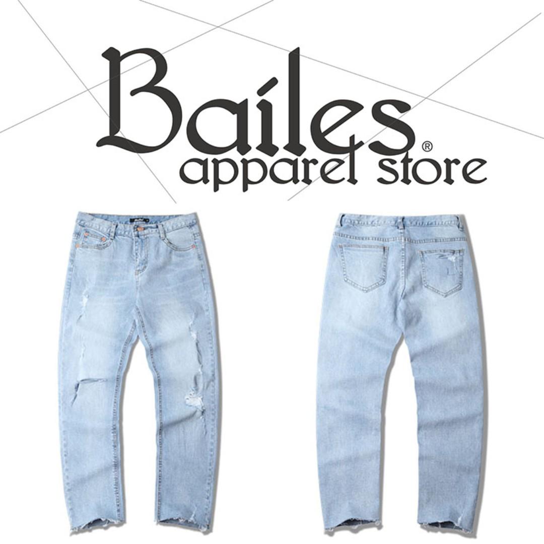 貝里斯Bailes【AP014】日韓版 / 男女款 日韓款刷色刷破水洗褲管不收邊直筒修身牛仔長褲