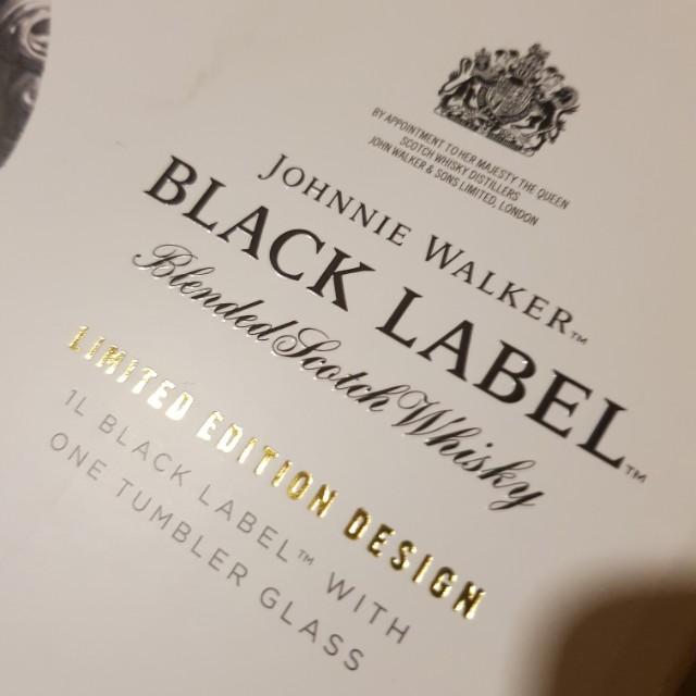 Black label with Jonnie Walker scotch glass