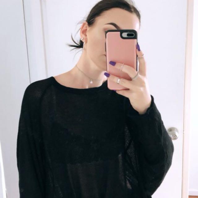 Black Sheer Over-Sized Jumper
