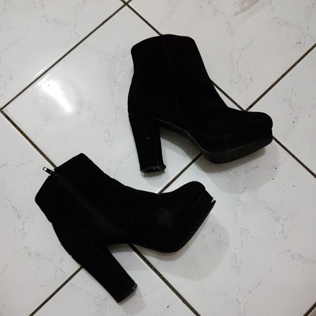 Black Velvet Heel Boots