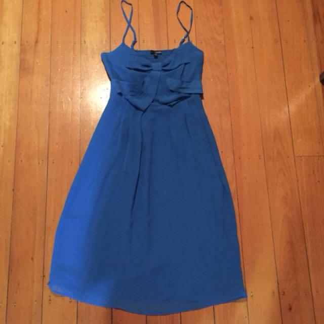 Blue bow front dress Sz 10