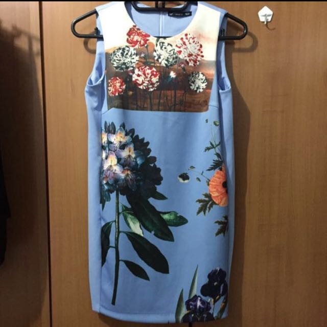 8a86606a19 BN Zara Floral Print Shift Dress in Baby Blue