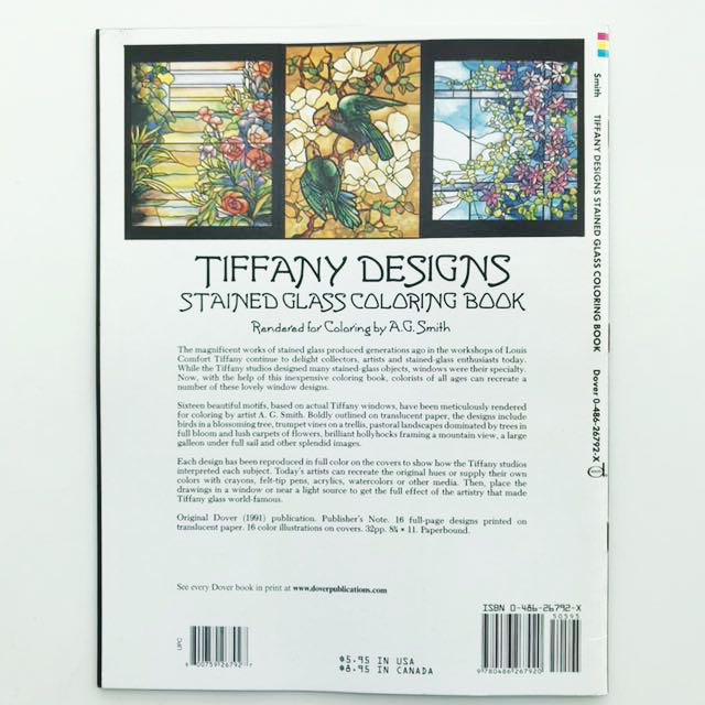 Book: Tiffany Designs Stained Glass Coloring Book (Dover ...