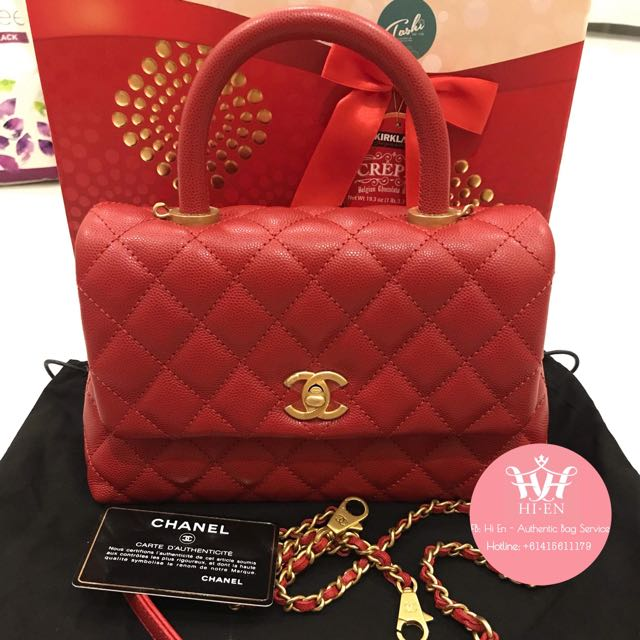 CHANEL COCO HANDLE MINI RED CAVIAR