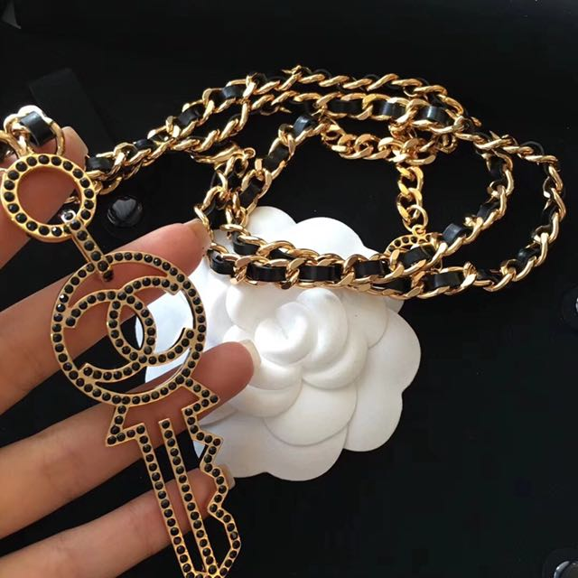 Coco Chanel black diamond key long leather necklace
