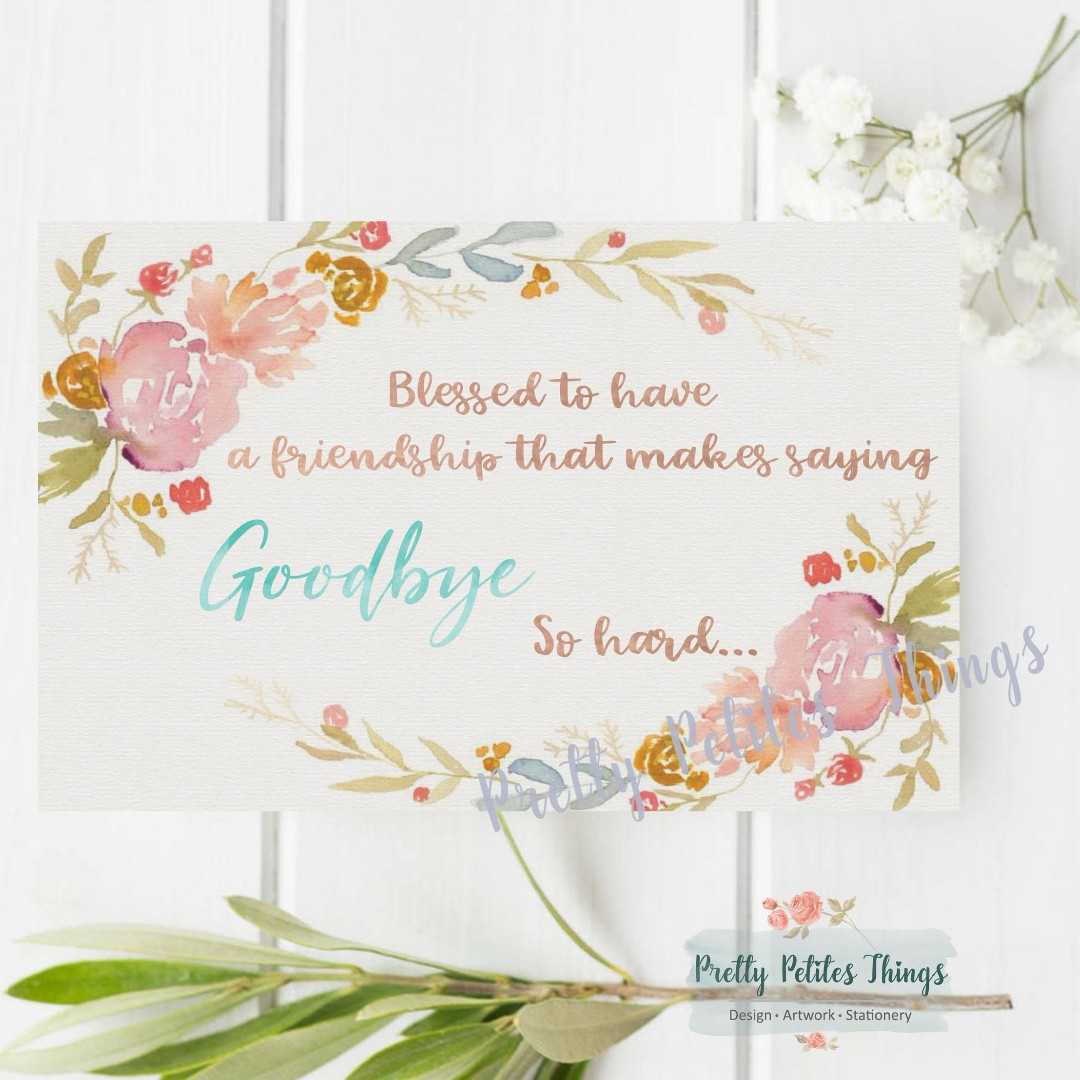 customizable watercolor floral farewell card design