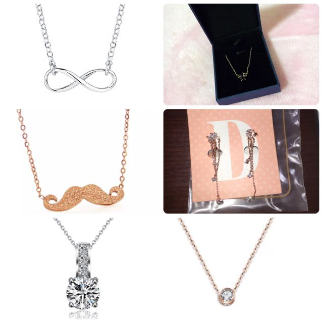 Cute petite jewellery necklaces clip on earrings rose gold silver