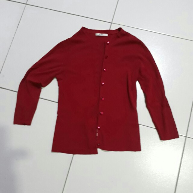 Dark red 3/4 knitted top