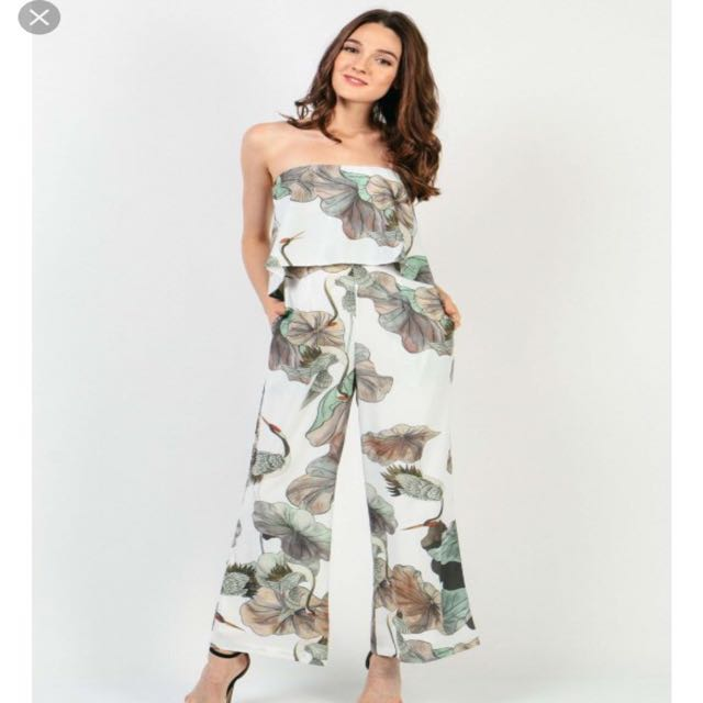 3d4be070dac Dressabelle Ruffle Tropical Tube Jumpsuit in White