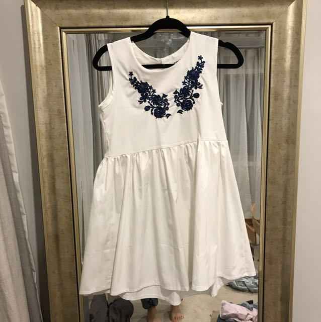 embroided baby doll dress