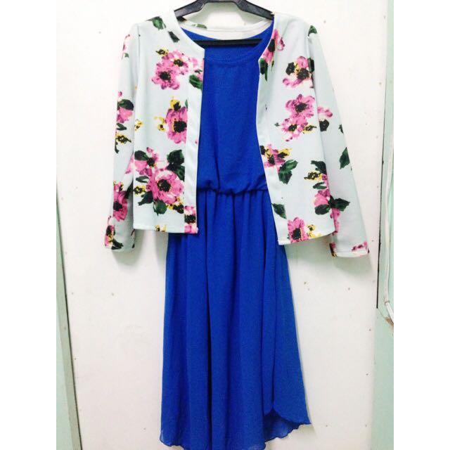Floral Blazer and Dress Set