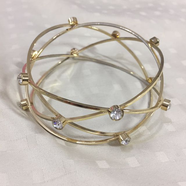 Gold plated bracelet bangle with stones