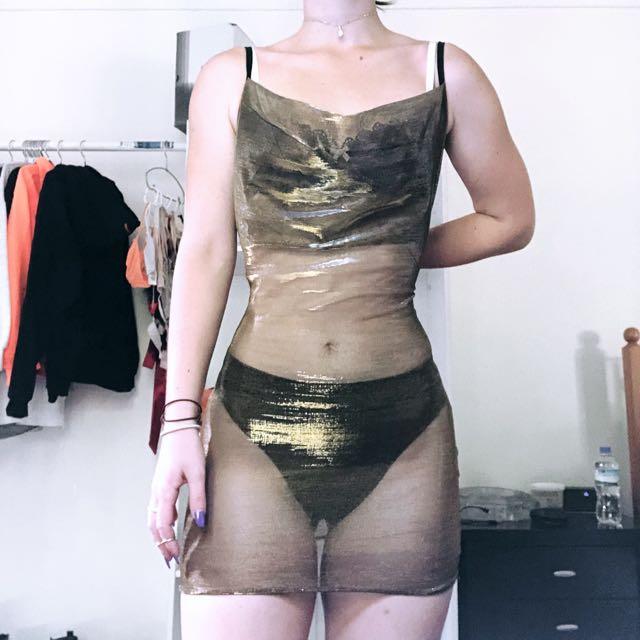 Gold Sheer Metallic Cowl Neck Dress
