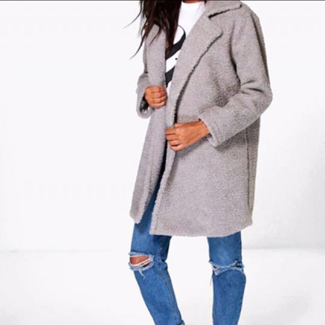 Grey Teddy Fur Coat