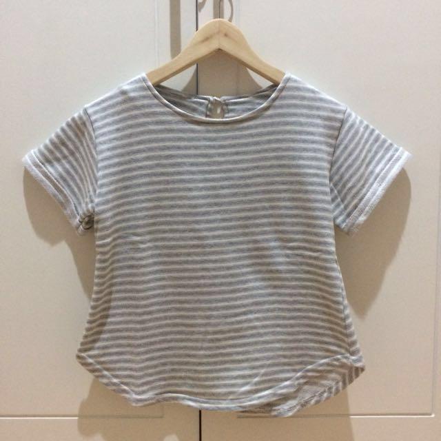 Grey White Stripes Top