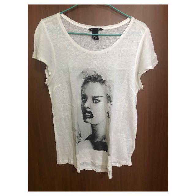 H&M White Graphic Shirt