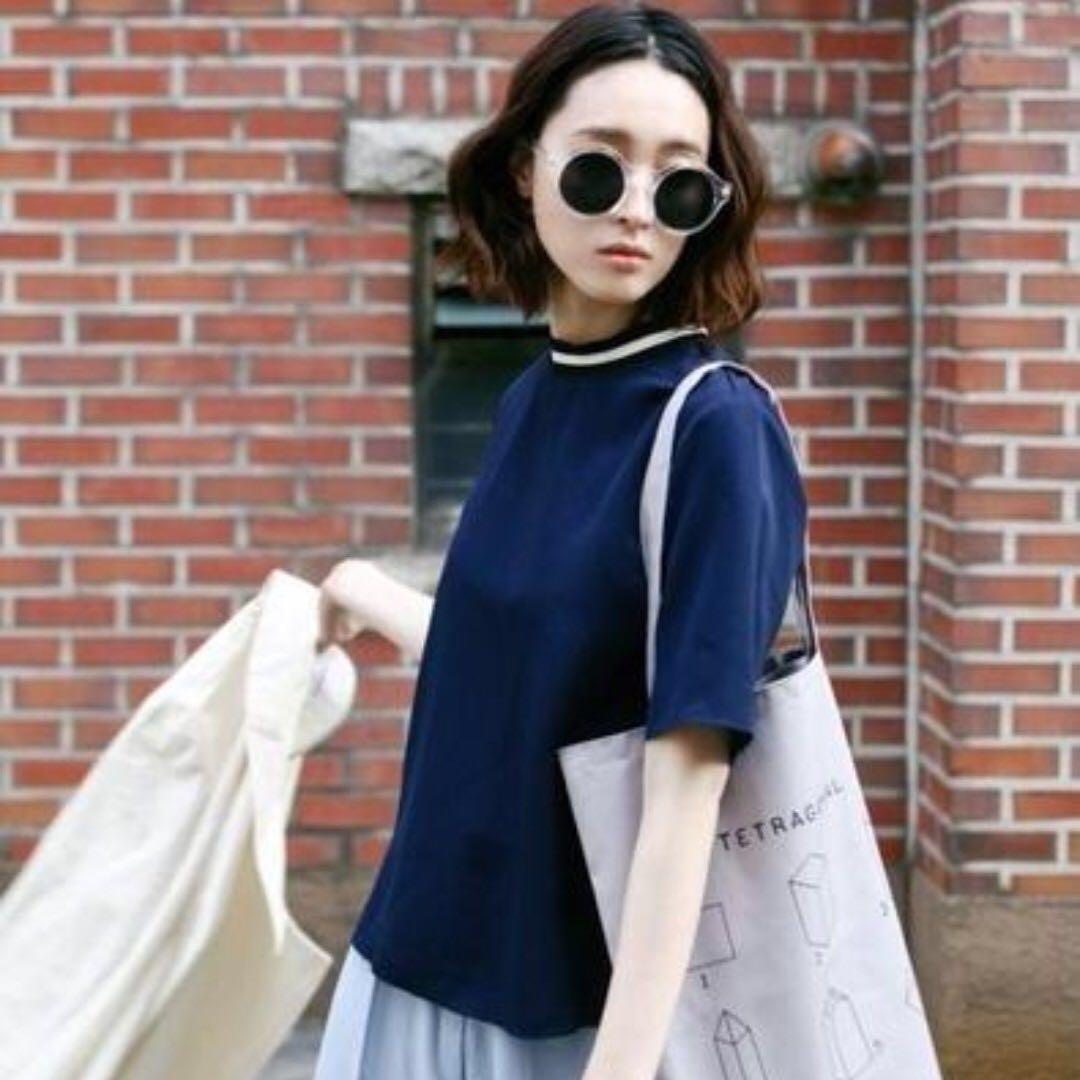 KOREA 絲滑小立領上衣