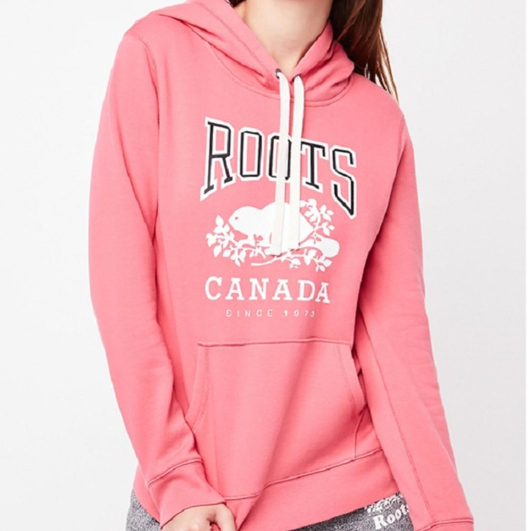【LA 潮流】特價 ,真品 ! 加拿大海狸 ROOTS 新款 楓葉植绒 刷毛 男女情侣 運動休閒連帽上衣--粉紅 !