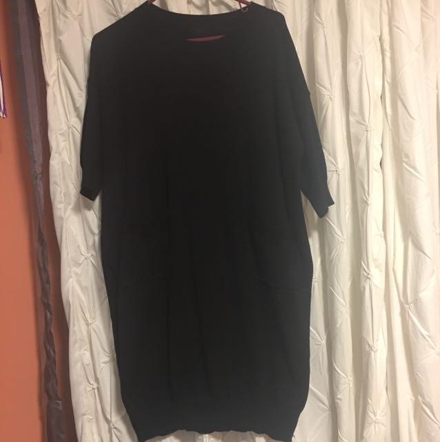 Long sweater slit dress