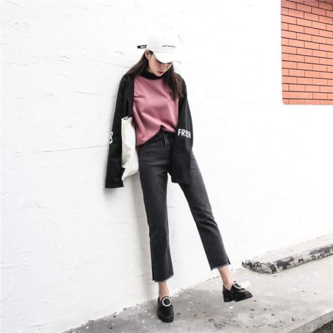 側開衩縫線牛仔褲(黑色-M)