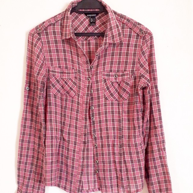 Mango Plaid Long Slv Shirt