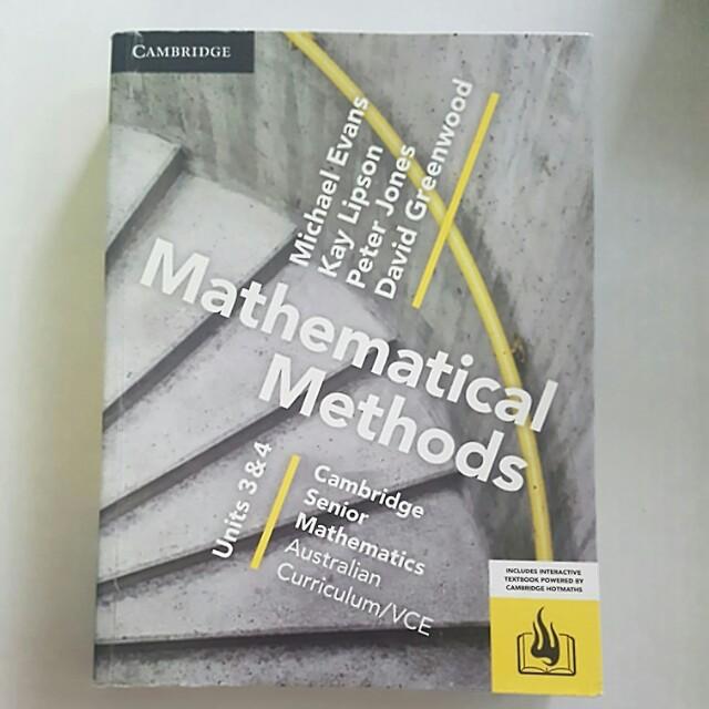 Mathematical Methods Units 3 and 4 Cambridge Textbook