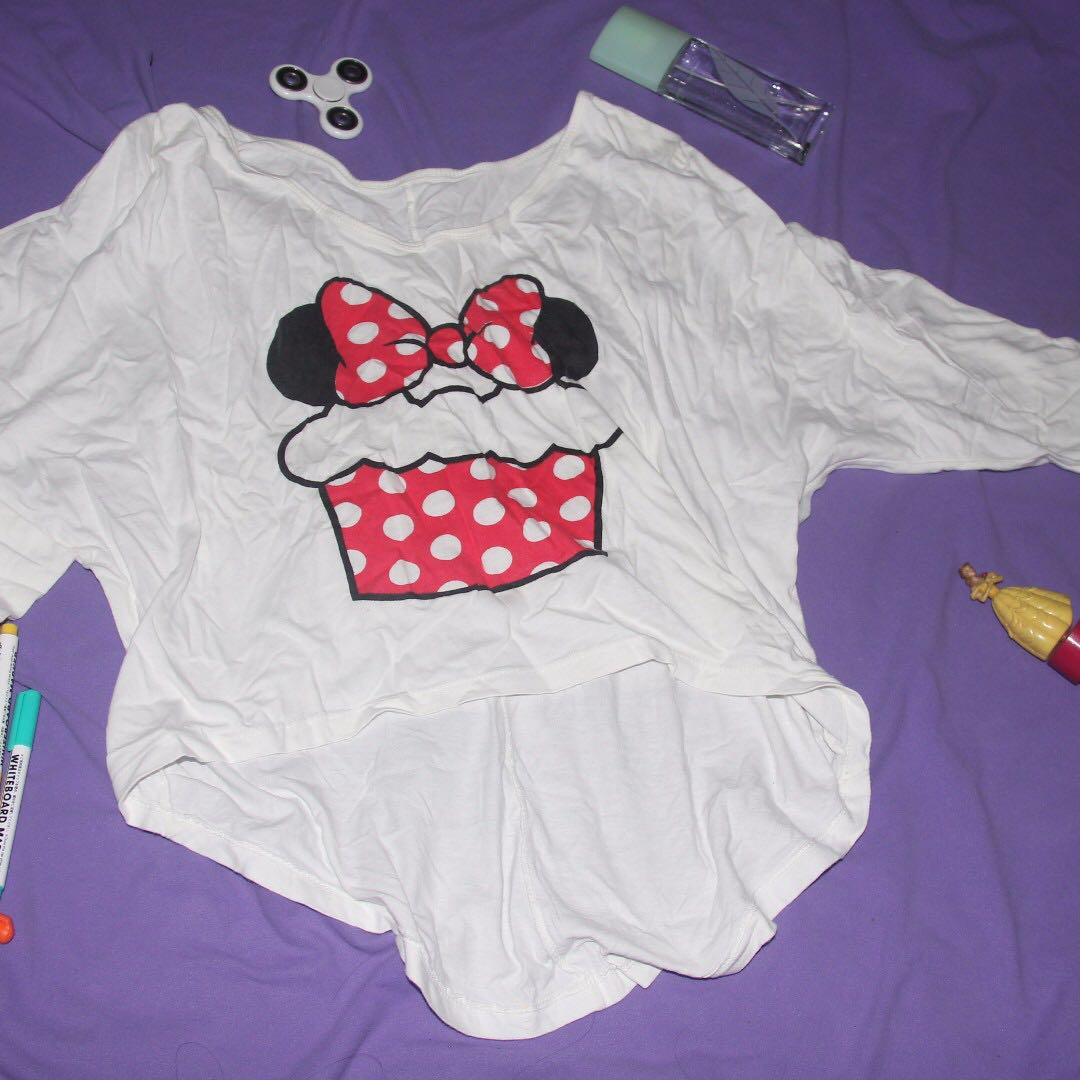 Minnie Mouse Long Sleeves Crop Top