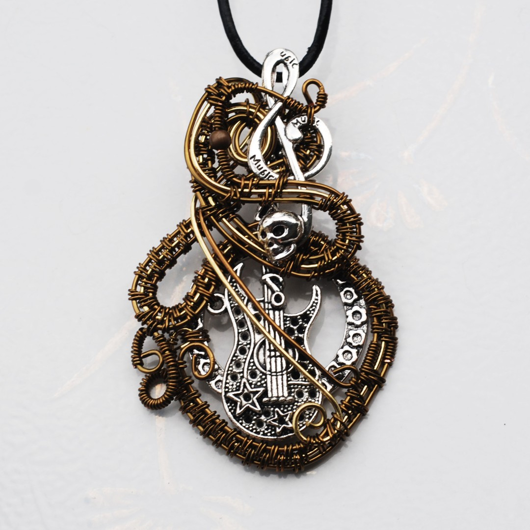 Musical treble skull electric guitar musical pendant wire wrap photo photo aloadofball Images
