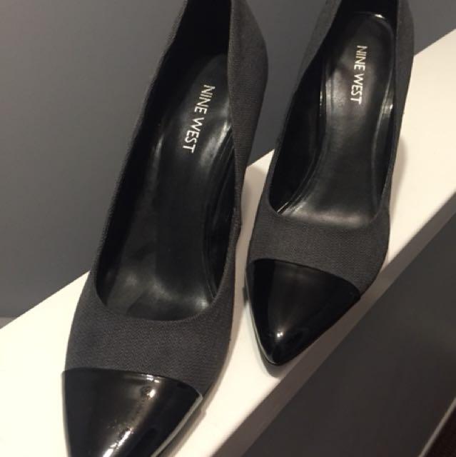 Nine West Classy grey/patent black pumps, brand new size 7.5