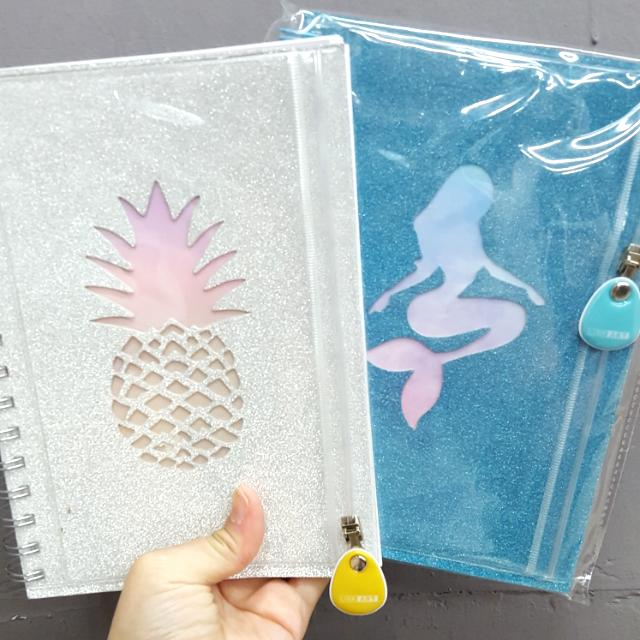 Note book with Pouch Cotton on look alike❤