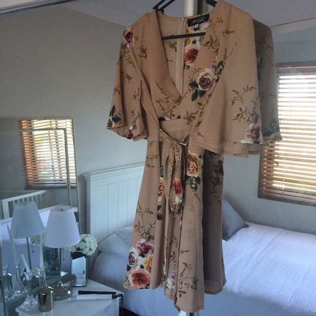 Nude Floral Tie Up Dress
