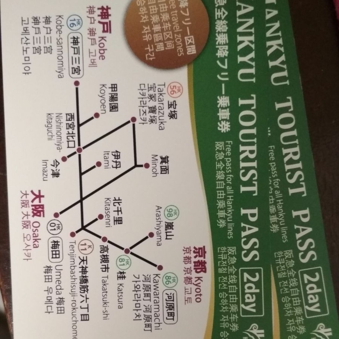 e661a0155689 Osaka - 2days Hankyu Tourist Pass x 2