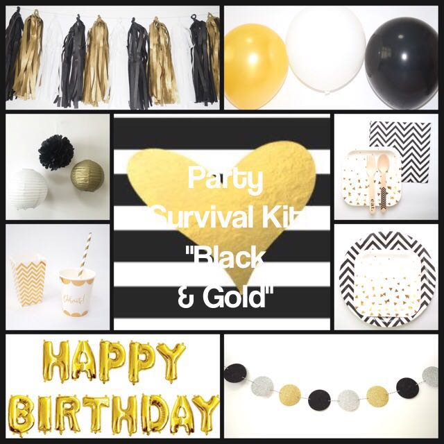 Party Survival Kit Black Gold Promo Price Design Craft Others On Carousell