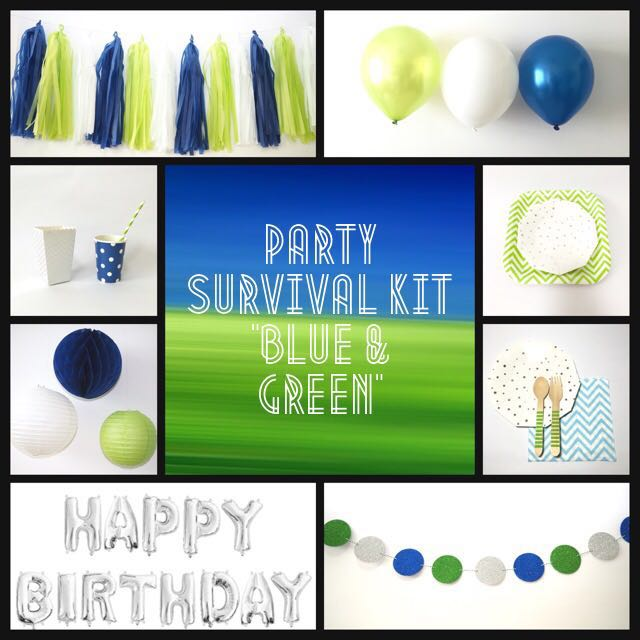Party Survival Kit Blue Green Promo Price Design Craft