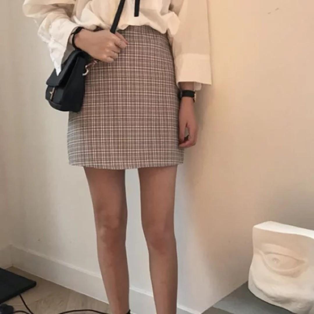 4b91b37e0 PREORDER] Tumblr Cute Retro Plaid Checkered A Line Skirt, Women's ...