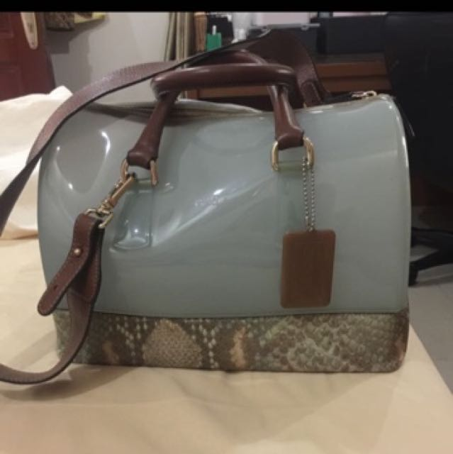 REPRICE AUTHENTIC FURLA CANDY BAG SNAKE LEATHER