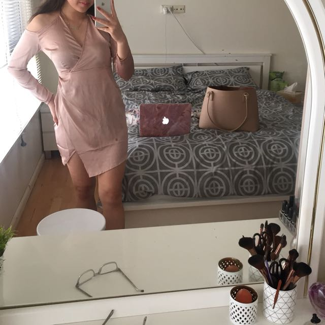Silky rose pink gold dress