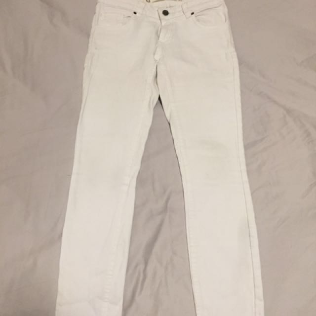 Skinny high waisted white jeans